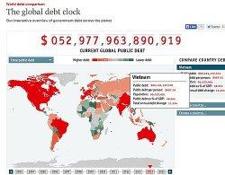 Bảng nợ công trên Economist.com ngày 27.3 - Ảnh: TL