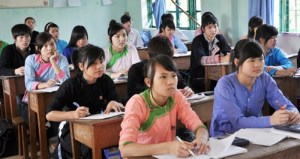 Trong giờ học ở Trường THPT Dân tộc nội trú tỉnh Lào Cai