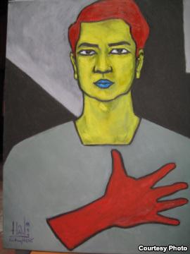 Tranh sơn dầu tự họa của TS Cù Huy Hà Vũ. Lúc đầu được nhận toile vẽ sau đó giám thị trại giam không cho và nói là giữ hộ.