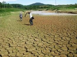 Lòng hồ thủy điện Sông Hinh ở tỉnh Phú Yên nhiều chỗ trơ đáy, nứt toác vì khô hạn Ảnh: HỒNG ÁNH