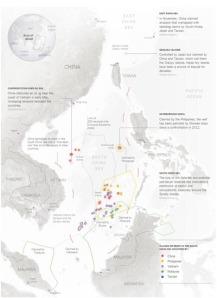 Bản đồ tranh chấp với hai điểm nóng trên Biển Đông, tại phía nam quần đảo Hoàng Sa và ở bãi cạn Scarborough. (Hình: NYT)