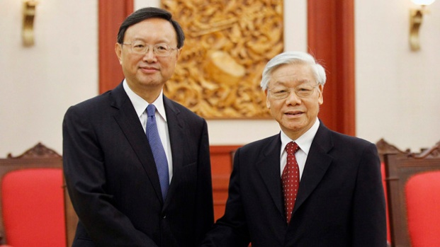 Chinese State Councilor Yang meets Vietnamese Communist Party's General Secretary Nguyen in Hanoi