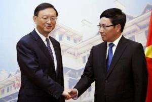Ông Phạm Bình Minh tiếp đón Ủy viên Quốc vụ viện Trung Quốc Dương Khiết Trì tại Hà Nội ngày 18/6/2014