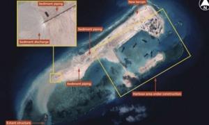 Bãi đá ngầm Đá Thập (Trung quốc gọi là Vĩnh Thữ Tiêu) đang trở thành đảo nhân tạo có cả phi trường, cảng biển cho một căn cứ quân sự cỡ lớn trên biển Đông. (Hình: Jane's Defense)