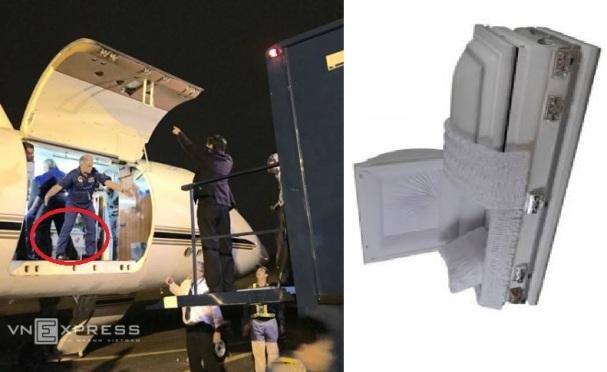 Ảnh trái: Nhóm chuyên gia Mỹ chuẩn bị đưa ông Thanh từ chuyên cơ sang ôtô chuyên dụng. Ảnh: VNE. Ảnh phải: quan tài ở Mỹ