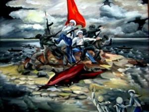 Bức tranh các chiến sỹ Hải quân quyết tâm giữ cờ Tổ quốc khi quân Trung Quốc đổ bộ lên Gạc Ma