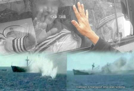 Tàu chiến Trung Quốc trực xạ bắn vào tàu vận tải công binh của Việt Nam khiến 64 chiến sĩ Hải quân VN đã hy sinh cùng với lệnh không được nổ súng...