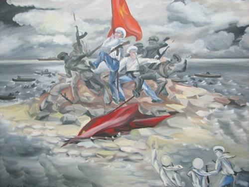 Bức vẽ tả lại cảnh bộ đội ta giữ cờ trên đảo Gạc Ma trong cuộc thảm sát do hải quân Trung Quốc tiến hành vào tháng 3.1988 - Ảnh chụp lại