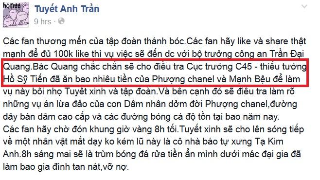 Ảnh chụp từ FB Tuyết Anh Trần