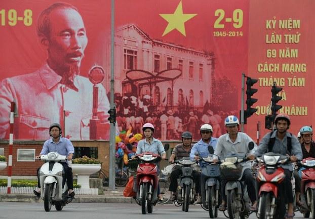 Tranh cổ động chào mừng ngày 2/9 tại Hà Nội, ảnh chụp hôm 28/8/2014.