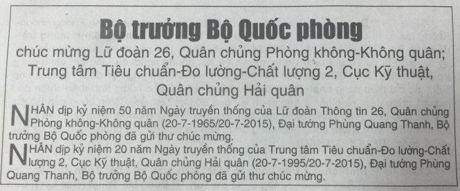 Tin Bộ trưởng Phùng Quang Thanh gửi thư chúc mừng trên báo Quân đội nhân dân số ra sáng nay 20-7-2015