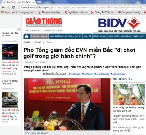 Ảnh chụp màn hình Baogiaothong.vn ngày 17/7/2015