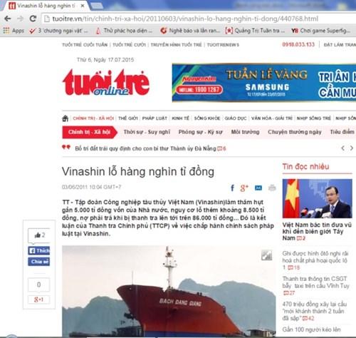 Vinashin làm thâm hụt gần 5.000 tỉ đồng vốn của Nhà nước, nguy cơ lỗ thêm khoảng 8.500 tỉ đồng (Ảnh chụp màn hình)