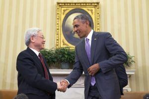 Tổng thống Obama gặp Tổng Bí thư đảng cộng sản Việt Nam Nguyễn Phú Trọng tại phòng Bầu dục của Tòa Bạch Ốc, ngày 7/7/2015