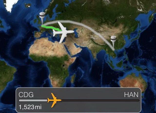 Vị trí chuyến bay mang số hiệu VN18 lúc 22g50 ngày 24-7