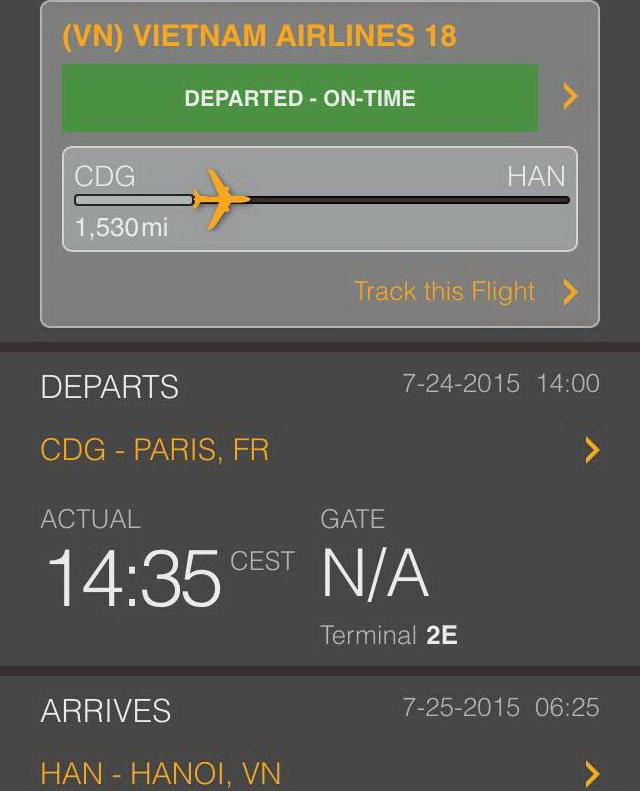 Máy bay dự kiến hạ cánh xuống Sân bay quốc tế Nội Bài (Hà Nội) lúc 6g25 sáng 25-7