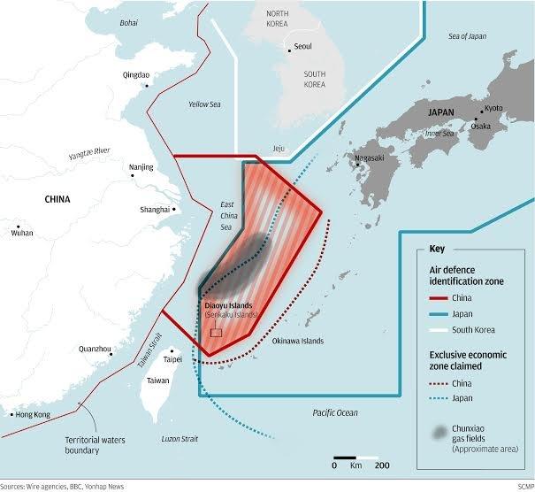 Các vùng nhận diện phòng không trên biển Hoa Đông: đỏ - Trung Quốc, xanh - Nhật Bản, trắng - Hàn Quốc - Ảnh: scmp.com