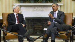 Tổng thống Obama tiếp ông Nguyễn Phú Trọng tại phòng Bầu dục của Tòa Bạch Ốc, ngày 7/7/2015