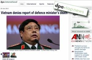 Hình chụp trang bìa tờ báo online DPA-International, trong tin có phần ghi: Một báo cáo trước đây của DPA cho biết ông tướng đã qua đời hôm Chủ Nhật sau khi được điều trị tại bệnh viện, dựa theo một nguồn tin tại bệnh viện.(ngày 20 tháng 7, 2015)
