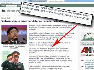 DPA không cải chính vẫn giữ tin đã đưa của mình, nhưng đưa thêm tin Việt Nam bác bỏ tin tướng Thanh đã chết