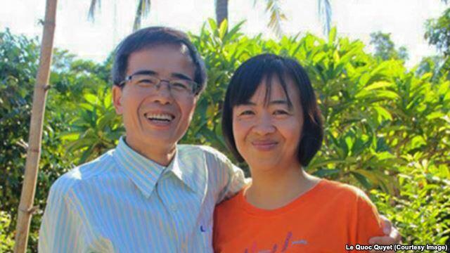 Bức ảnh luật sư Lê Quốc Quân và vợ được đăng tải trên trang facebook của anh Lê Quốc Quyết, em trai luật sư Quân.
