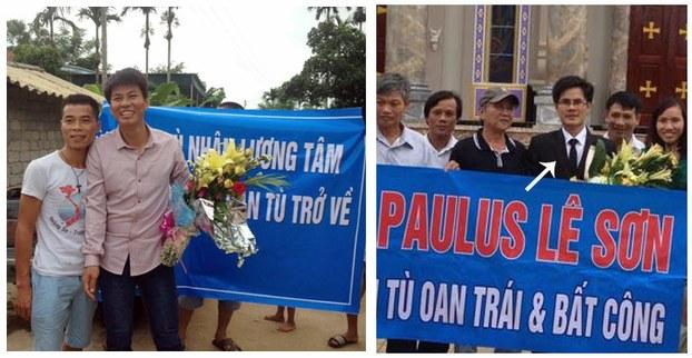 Hình ảnh anh Gioan Nguyễn Văn Oai (trái) và anh Paulus Lê Văn Sơn ngày được trả tự do, 3 tháng 8, 2015