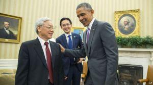 Tổng Bí thư Đảng Cộng sản Việt Nam Nguyễn Phú Trọng hội kiến Tổng thống Mỹ Barack Obama tại Tòa Bạch Ốc hôm 7/7/2015