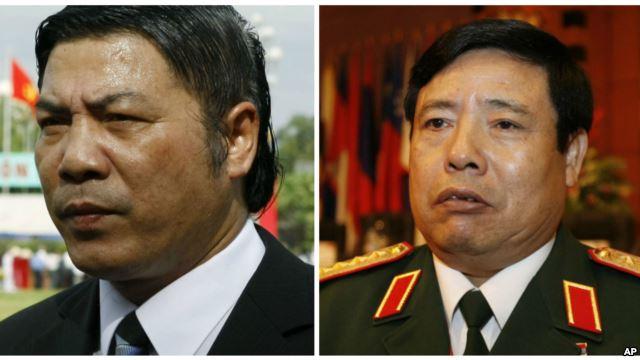 Ông Nguyễn Bá Thanh (trái) và Phùng Quang Thanh