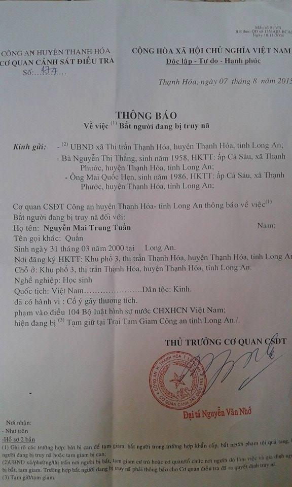Thông Báo về việc bắt cháu Nguyễn Mai Trung Tuấn