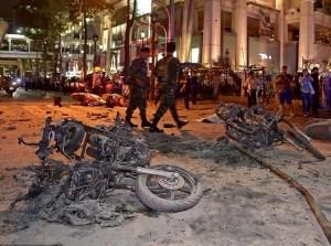 Hiện trường vụ nổ bom ở trung tâm thủ đô Bangkok. Nguồn ảnh: Báo Kiến Thức