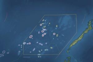 Bản đồ khu vực Trường Sa đang tranh chấp mà Trung Quốc xây dựng 7 bãi đá ngầm thành 7 đảo nhân tạo quân sự cỡ lớn. (Hình: CIA-NASA)
