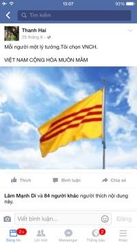 """Một status của cô Hải trên facebook mà phía chính quyền cho là """"phản động."""" (Hình: Việt Hùng/Người Việt)"""