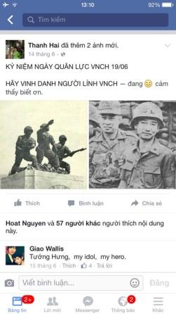 Một status khác trên facebook của cô Hải khiến cô bị trù dập. (Hình: Việt Hùng/Người Việt)