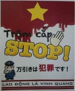Biển báo ghi bằng tiếng Việt ở Nhật. Ảnh: Phan Hằng - Học viên Kyodai tại Nhật Bản