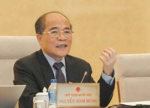 """Chủ tịch Quốc hội Nguyễn Sinh Hùng: """"Muốn bắt ai thì bắt, đâu có được"""". ảnh: quochoi.vn"""