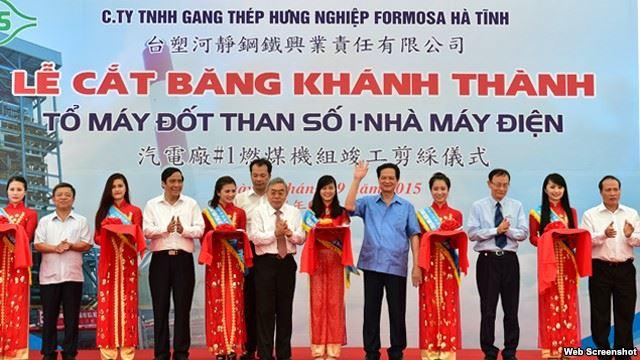 Thủ tướng Việt Nam dự lễ cắt băng khánh thành một tổ máy đốt than của nhà máy nhiệt điện Formosa ngày 17/9