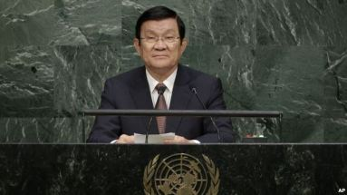 Chủ tịch Việt Nam Trương Tấn Sang phát biểu trước Đại hội đồng Liên Hiệp Quốc hôm 25/9