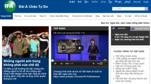 Trang RFA tiếng Việt. Ảnh: HM từ màn hình