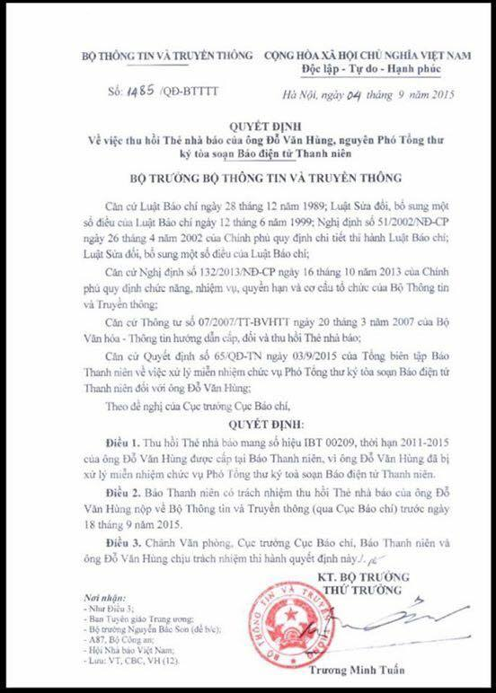 Quyết định rút thẻ nhà báo Đỗ Hùng của Bộ 4T. Ảnh: FB Nguyễn Ngọc Long.