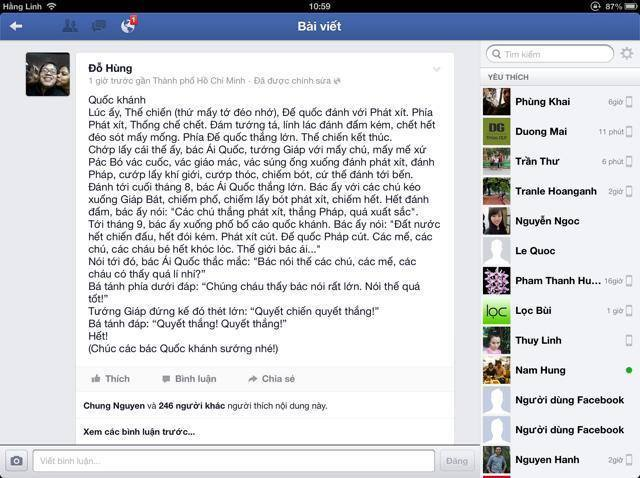 Dòng trạng thái trên FB được cho là lý do khiến ông bị rút thẻ. Ảnh: Blog Loa Phường.