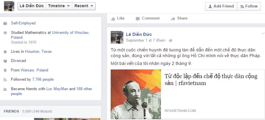 FB của anh Lê Diễn Đức. Ảnh: từ màn hình