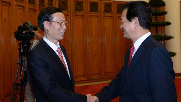 Thủ tướng Nguyễn Tấn Dũng tiếp Phó Thủ tướng, Ủy viên Bộ Chính trị ĐCS Trung Quốc, ông Trương Cao Lệ, hôm 16/7/2015.