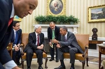 Tổng thống Mỹ Barack Obama gặp TBT Đảng CSVN Nguyễn Phú Trọng. White House Photo