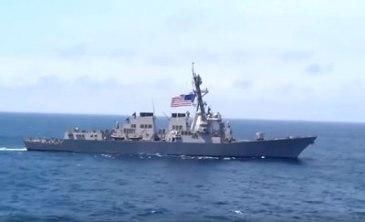 Khu trục hạm USS Lassen của Hải Quân Hoa Kỳ tuần tra trên biển Ðông. (Hình chụp qua Youtube)