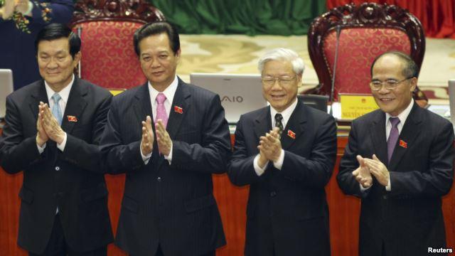 Chủ tịch nước Trương Tấn Sang, Thủ tướng Nguyễn Tấn Dũng, Tổng Bí thư Nguyễn Phú Trọng và Chủ tịch Quốc hội Nguyễn Sinh Hùng.