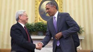 Tổng thống Obama và Tổng bí thư đảng CSVN Nguyễn Phú Trọng tại phòng Bầu dục Tòa Bạch Ốc, ngày 7/7/2015