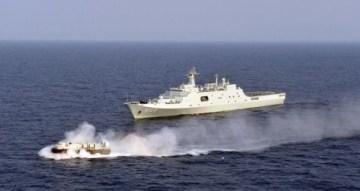 Tàu chiến Hạm đội Nam Hải, Hải quân Trung Quốc tập trận đổ bộ: Tàu đổ bộ cỡ lớn Tỉnh Cương Sơn thả tàu đệm khí (ảnh tư liệu minh họa)