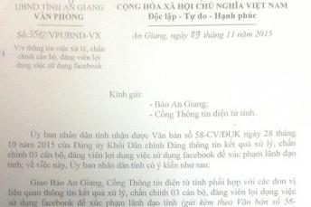 Văn bản chỉ đạo của UBND tỉnh An Giang: Thông báo kết quả xử lý cán bộ trên phương tiện thông tin đại chúng. Nguồn: báo Lao Động