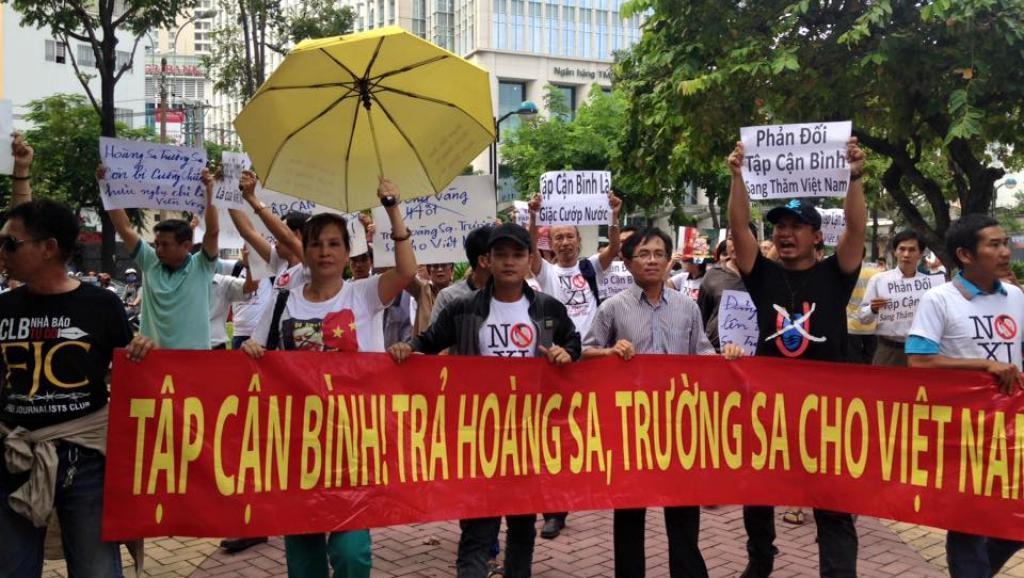 Biểu tình phản đối Tập Cận Bình ở Saigon ngày 04/11/2015. Nguồn ảnh: FB