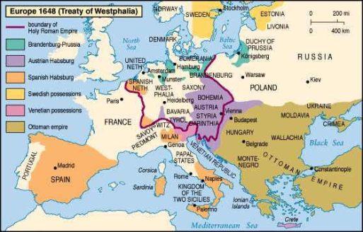 Bản đồ châu Âu năm 1648. Nguồn: internet